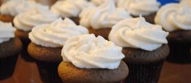 Tiny Chocolate Velvet Cakes with Vanilla Frosting