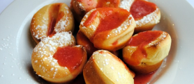 Mini Puffed Pancakes with Strawberry Sauce