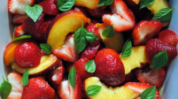Strawberries, Peaches and Basil with Orange Vinaigrette